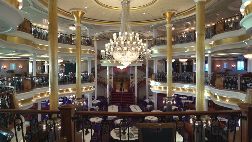 Beautiful and luxury fine dining restaurant. Cruise ship dining room - October 2016. Adventure of the Seas, Royal Caribbean | Shutterstock HD Video #23483926