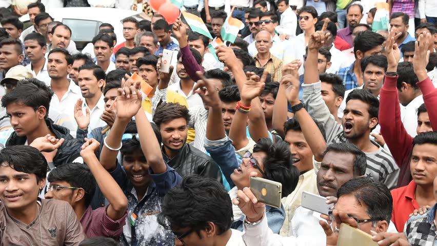 AMRAVATI, MAHARASHTRA, INDIA, JANUARY - 26, 2017: Unidentified people celebrating the India Republic Day on street of city. #23564428