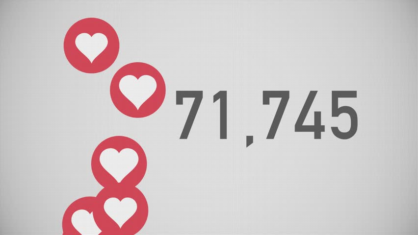 A close up shot of 100,000 likes being counted with thumping hearts on a social network page. Flat version.	 	 | Shutterstock HD Video #23634712