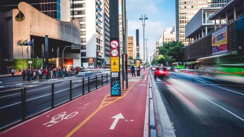 Sao Paulo, Brazil - July 28, 2016: Time lapse...