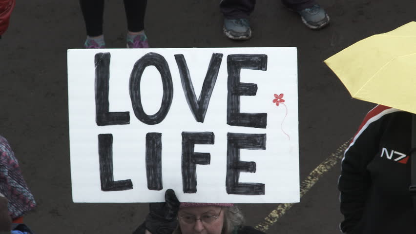 PORTLAND, OREGON - CIRCA 2017: Large group of people cheering at Women's March rally in Portland, zoom out from Love Life sign to overhead shot on crowd.