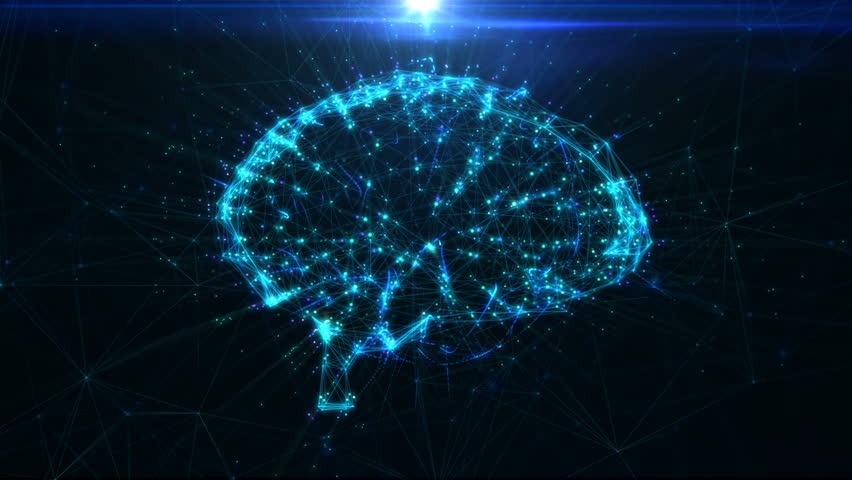 Circular rotation polygonal brain shape of an artificial intelligence with lines and glowing dots and shadow over the dark blue background. 3D rendering. | Shutterstock HD Video #23699710