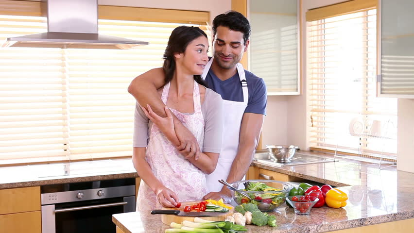 Couple Hugging Each Other In The Kitchen Stock Footage Video 2372684    Shutterstock. Couple Hugging Each Other In The Kitchen Stock Footage Video