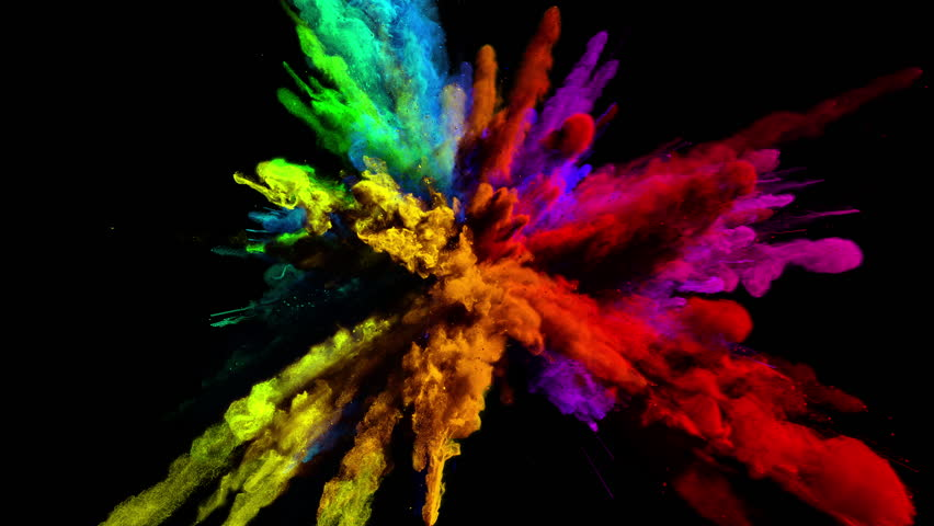 Cg animation of powder explosion with all primary colors on blackbackground. Slow motion movement with acceleration in the beginning. Has alpha matte.