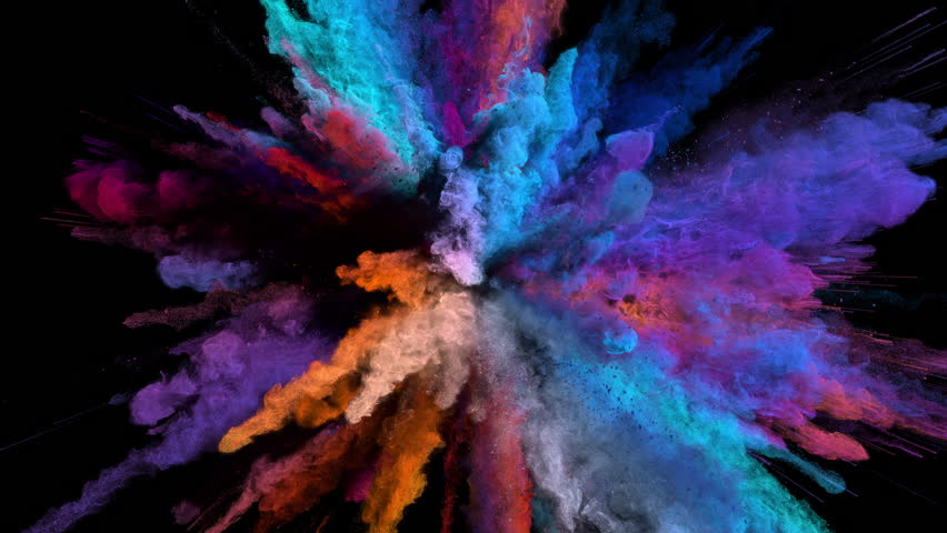 Cg animation of powder explosion with blue, red, orange and violet colors on black background. Slow motion movement with acceleration in the beginning. Has alpha matte. | Shutterstock HD Video #23786776
