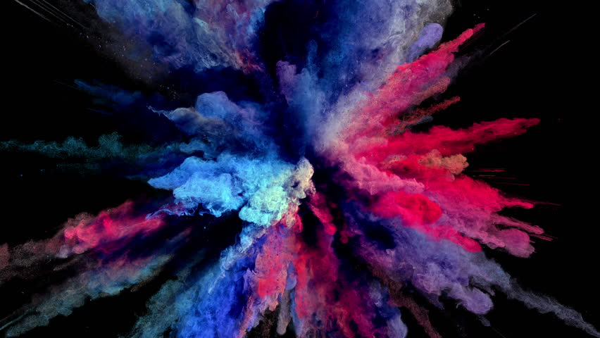Cg animation of powder explosion with blue, red and violet colors on black background. Slow motion movement with acceleration in the beginning. Has alpha matte. | Shutterstock HD Video #23786794