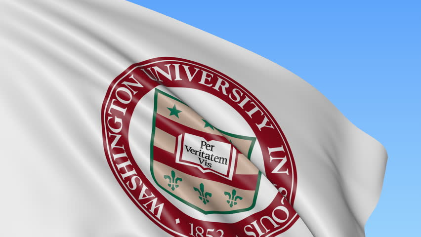 Close-up of waving flag with Washington University emblem, seamless loop, blue background. Editorial animation. 4K   Shutterstock HD Video #23836477