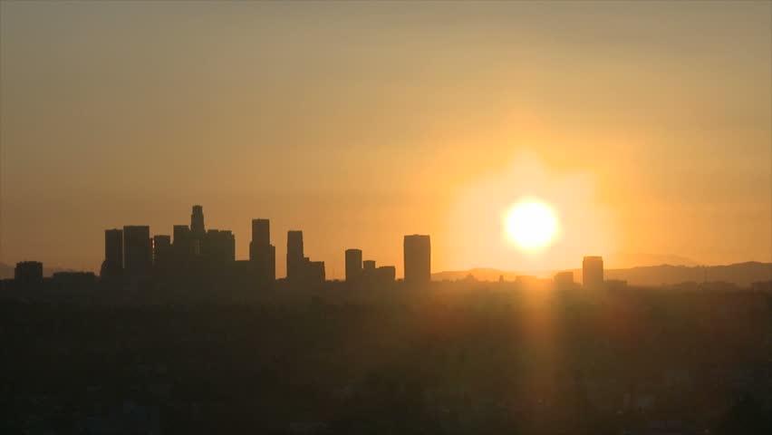 Sunrise with heat haze of Downtown Los Angeles skyline