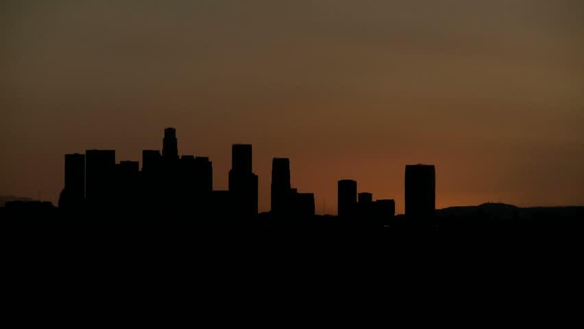 Sunrise Timelapse with heat haze of Downtown Los Angeles skyline