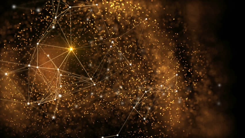 Elegant fantasy abstract technology, science and engineering motion background with golden particles and plexus lines in organic motion. Flickering light. Depth of field settings. 3d rendering.