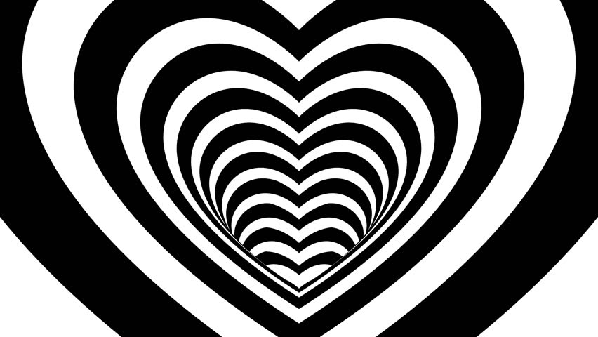 Seamless Looping Black and White Heart Tunnel Animated Background 4k