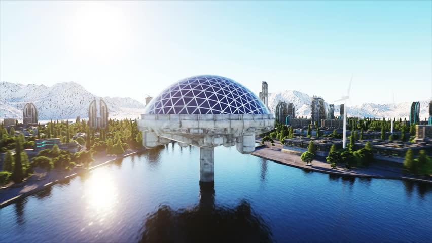 futuristic city, town. Architecture of the future. Aerial view. Super realistic 4k animation.