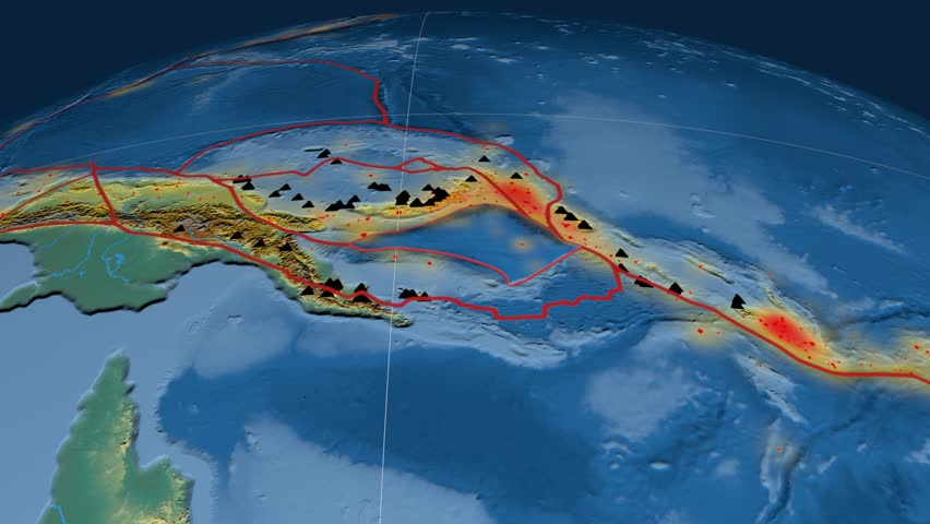 Solomon Sea tectonics featured. Relief. Plate extruded and animated against the globe. Tectonic plates borders (newest division), earthquakes by strength & volcanic cones | Shutterstock HD Video #23960266