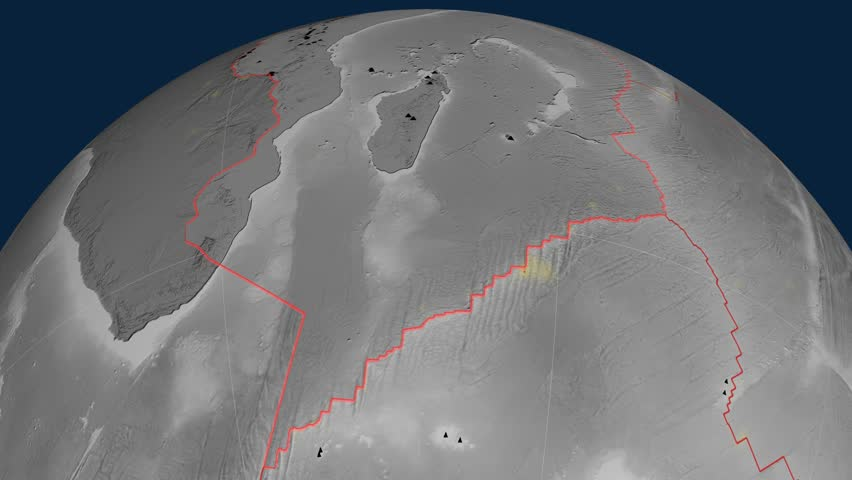 Somalia tectonics featured. Elevation grayscale. Plate extruded and animated against the globe. Tectonic plates borders (newest division), earthquakes by strength & volcanic cones   Shutterstock HD Video #23960326