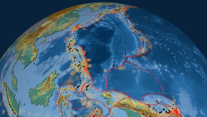 Philippine Sea tectonics featured. Relief. Plate extruded and animated against the globe. Tectonic plates borders (newest division), earthquakes by strength & volcanic cones | Shutterstock HD Video #23960485