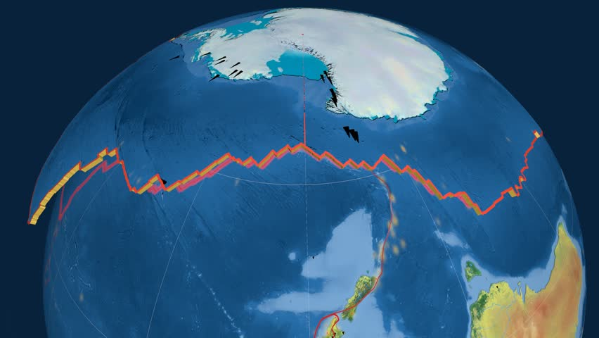 Antarctica tectonics featured. Topography. Plate extruded and animated against the globe. Tectonic plates borders (newest division), earthquakes by strength & volcanic cones | Shutterstock HD Video #23961133