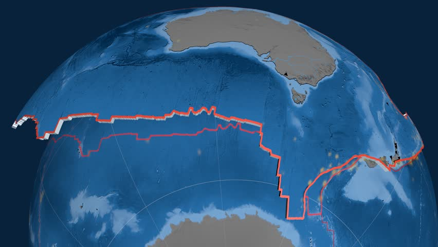Australia tectonics featured. Topo and bathy. Plate extruded and animated against the globe. Tectonic plates borders (newest division), earthquakes by strength & volcanic cones | Shutterstock HD Video #23961151