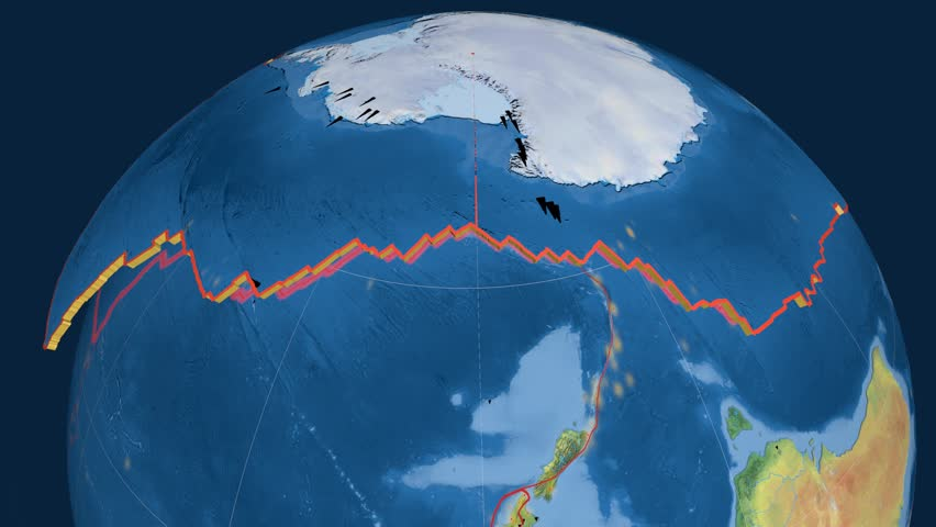 Antarctica tectonics featured. Natural Earth. Plate extruded and animated against the globe. Tectonic plates borders (newest division), earthquakes by strength & volcanic cones | Shutterstock HD Video #23961172