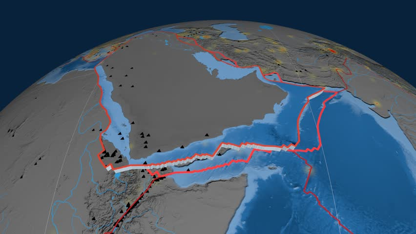 Arabia tectonics featured. Topo and bathy. Plate extruded and animated against the globe. Tectonic plates borders (newest division), earthquakes by strength & volcanic cones   Shutterstock HD Video #23961187
