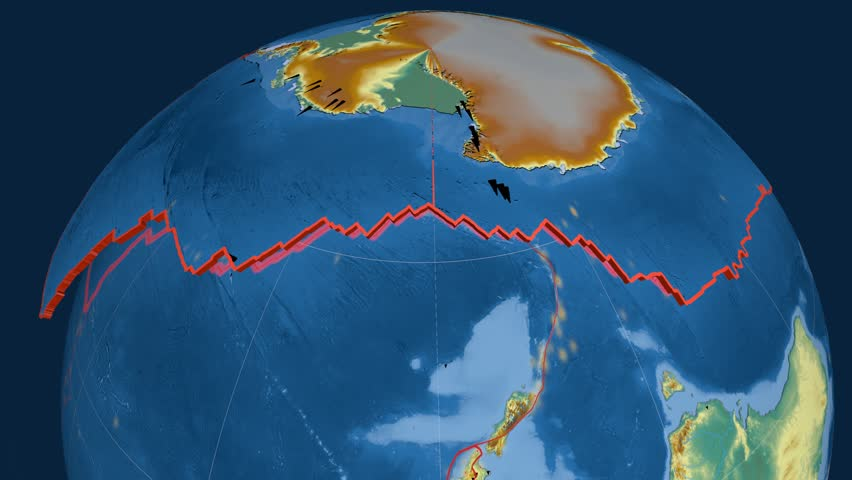 Antarctica tectonics featured. Relief. Plate extruded and animated against the globe. Tectonic plates borders (newest division), earthquakes by strength & volcanic cones | Shutterstock HD Video #23961205