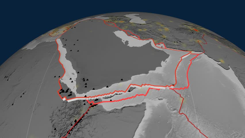 Arabia tectonics featured. Elevation grayscale. Plate extruded and animated against the globe. Tectonic plates borders (newest division), earthquakes by strength & volcanic cones   Shutterstock HD Video #23961241