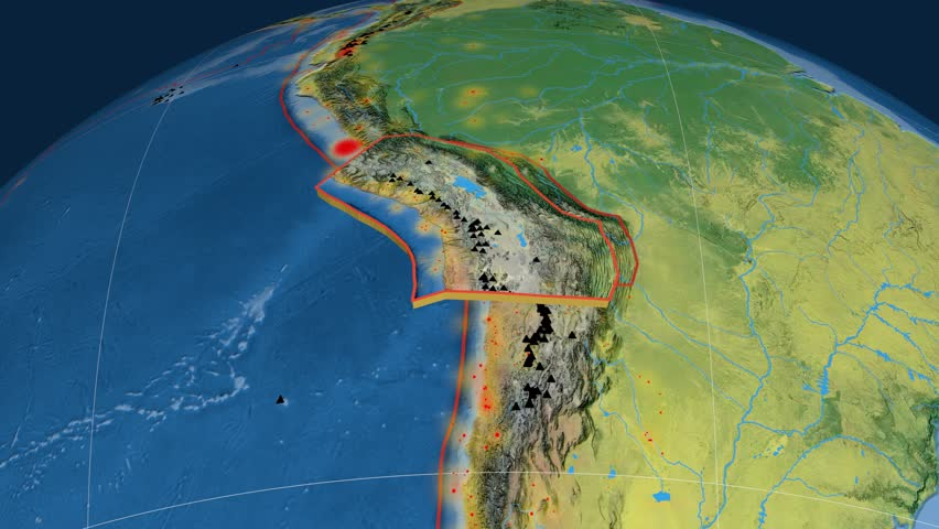 Altiplano tectonics featured. Topography. Plate extruded and animated against the globe. Tectonic plates borders (newest division), earthquakes by strength & volcanic cones | Shutterstock HD Video #23961406