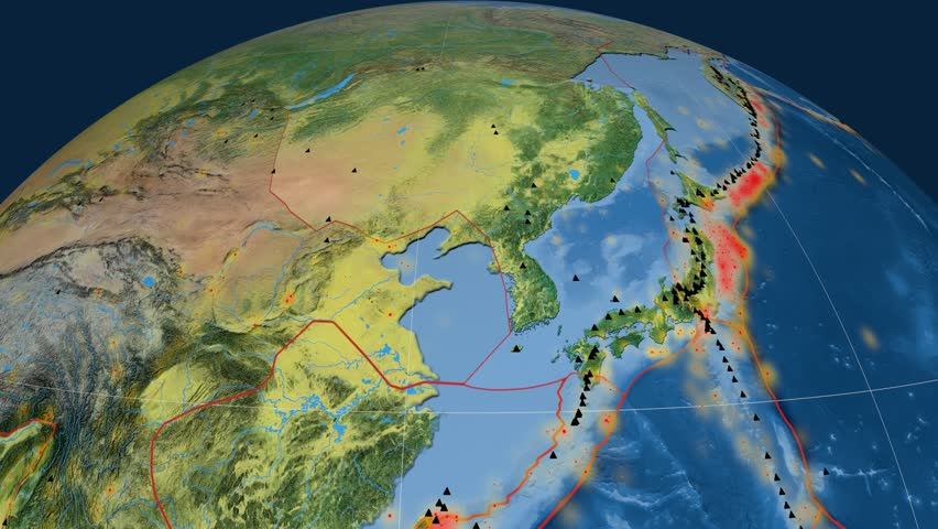 Amur tectonics featured. Topography. Plate extruded and animated against the globe. Tectonic plates borders (newest division), earthquakes by strength & volcanic cones | Shutterstock HD Video #23961433