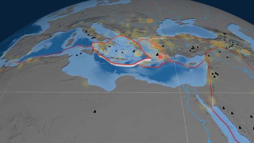 Aegean Sea tectonics featured. Topo and bathy. Plate extruded and animated against the globe. Tectonic plates borders (newest division), earthquakes by strength & volcanic cones   Shutterstock HD Video #23961463