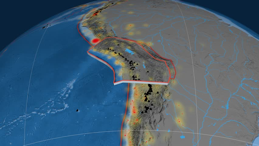 Altiplano tectonics featured. Topo and bathy. Plate extruded and animated against the globe. Tectonic plates borders (newest division), earthquakes by strength & volcanic cones | Shutterstock HD Video #23961472