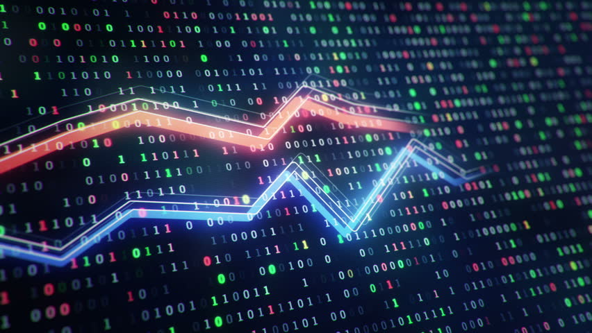 Technological background with growth of charts and graphs on binnary code backdrop. Symbols of business or finance with glowing glass surface. Seamless loop. | Shutterstock HD Video #23971807