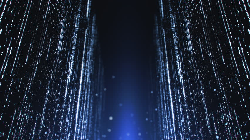Computer animated background with shining light trails on dark blue background