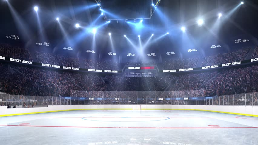 Hockey court with people fan. Sport arena. Ready to start championship. 3d render. Moving lights    Shutterstock Video #24013759