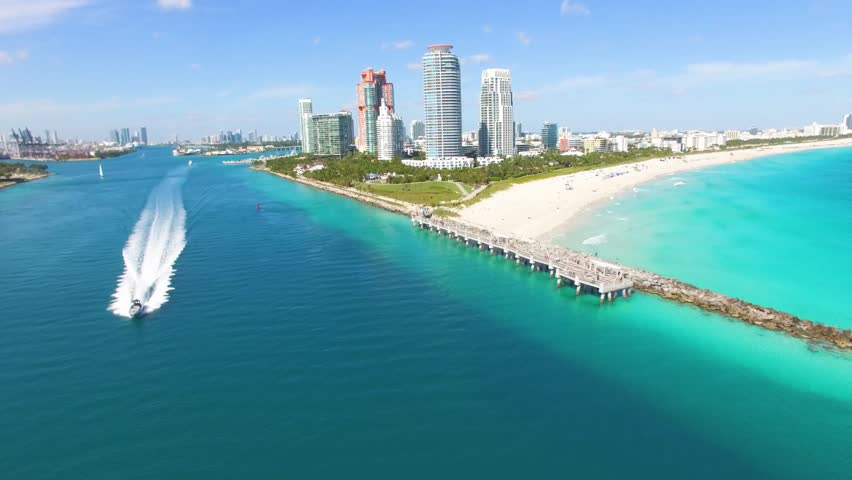 Aerial footage of speed boat at South Beach, Miami