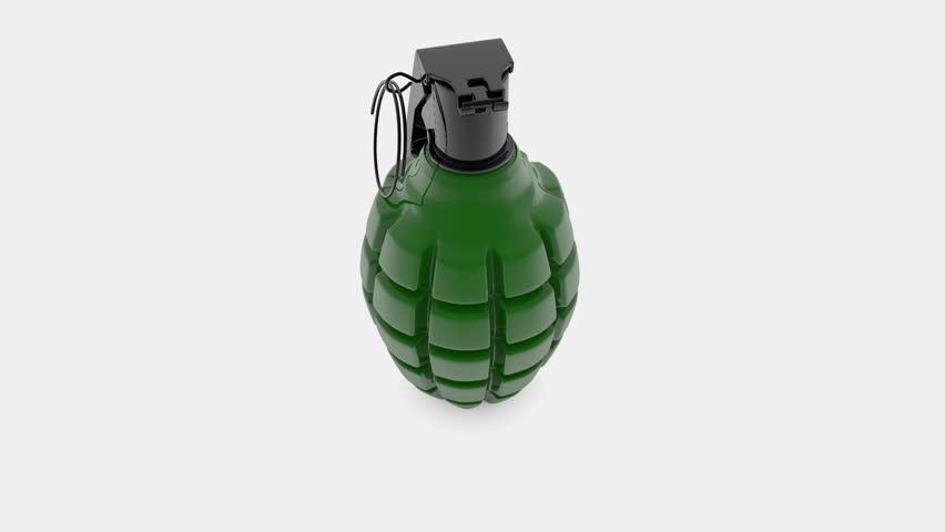 Hand grenade in green on white