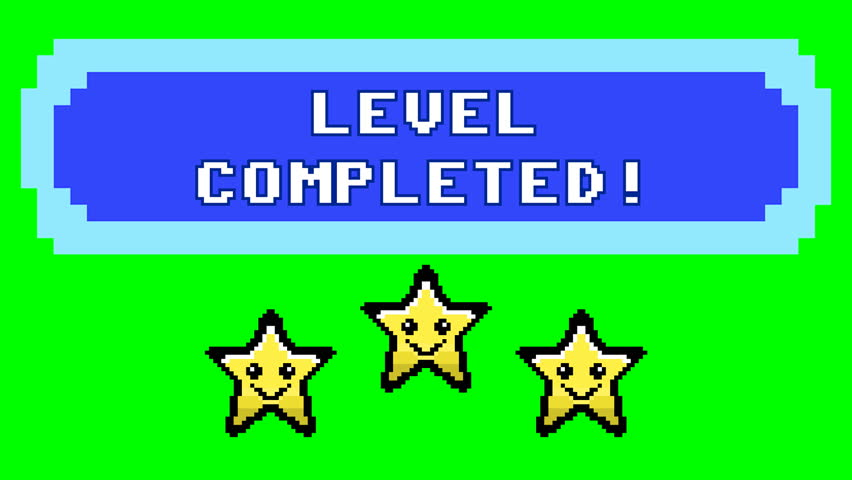 A videogame screen, 8 bit retro style, saying Level completed. Smiling stars over pure green.