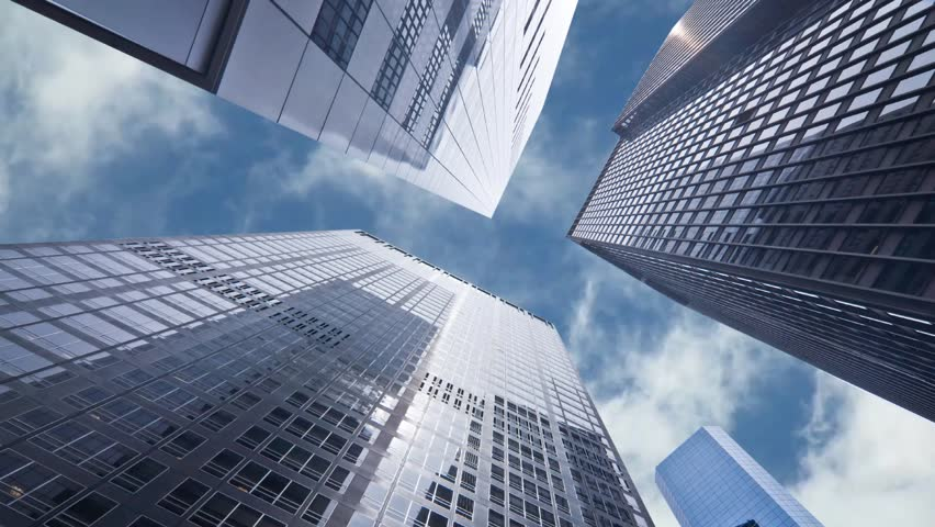 Seamless loop - Looking up at business buildings in downtown New York, USA, video HD