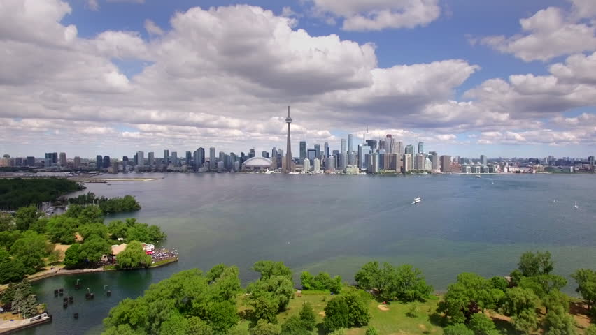 Toronto cityscape, aerial view of iconic Toronto skyline including the famous CN Tower, Ontario, Canada. | Shutterstock HD Video #24194086