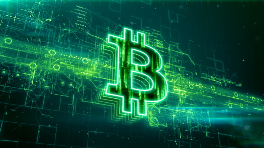 Abstract animation of bitcoin currency sign in digital cyberspace | Shutterstock HD Video #24205486