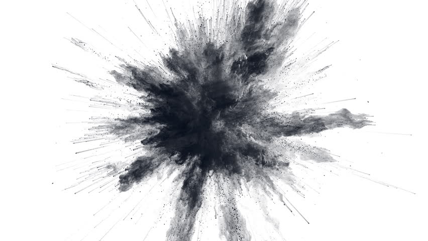 Cg animation of black powder explosion on white background. Slow motion movement with acceleration in the beginning. Has alpha matte.