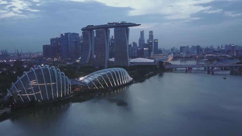 Aerial views of Singapore skyline at night