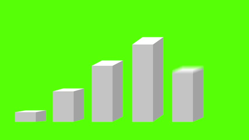 3d bar chart animation, rising up in stages green screen