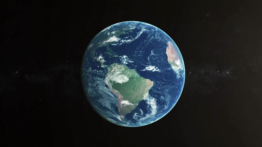 Realistic 4k Earth Rotating on Black. Globe is centered in frame, with rotation in seamless LOOP (you can reverse). Texture map courtesy of NASA. 3D animation. As it gets dark you see cities light up.