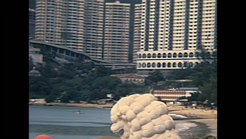 Repulse Bay Beach beside the Tin Hau Goddess Temple. Repulse Bay southern part of Hong Kong Island of China. Historic restored footage on 1980.
