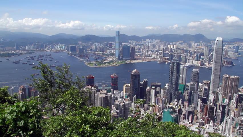 Hong Kong skyline - Central District, Victoria Harbor, Victoria Peak, Hong Kong Island and Kowloon, Hong Kong. | Shutterstock HD Video #2460869