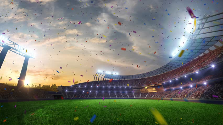 stadium Moving lights, animated flash  with people fans. 3d render illustration cloudy sky. Confetti and tinsel