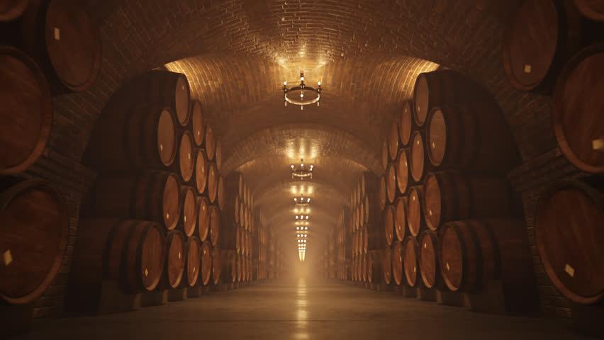 02644 Symmetry Of Oak Barrel In Wine Cellar With Lights
