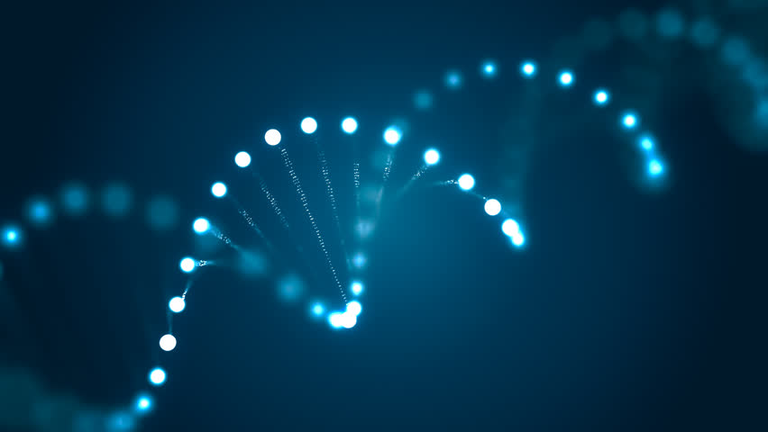 3D rendered loopable animation of rotating DNA glowing molecule on blue background. Genetics concept.
