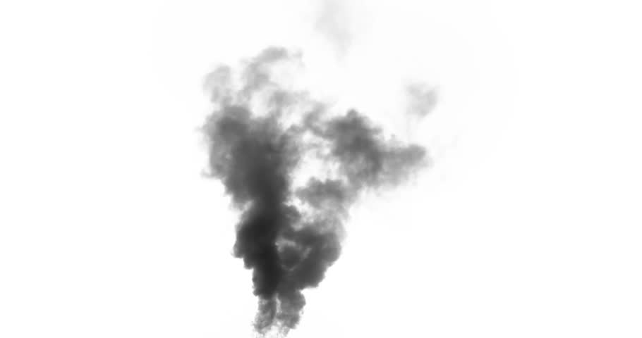 Black Smoke from a Fire. Black smoke rises from a large burning object. Ideal for simulating burned equipment and buildings in the middle distance from the camera