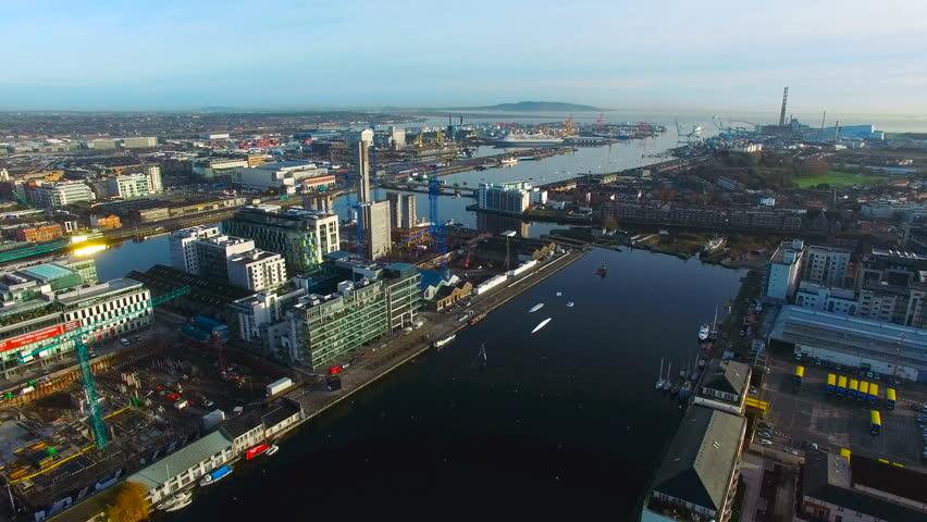 aerial view of city center of Dublin...