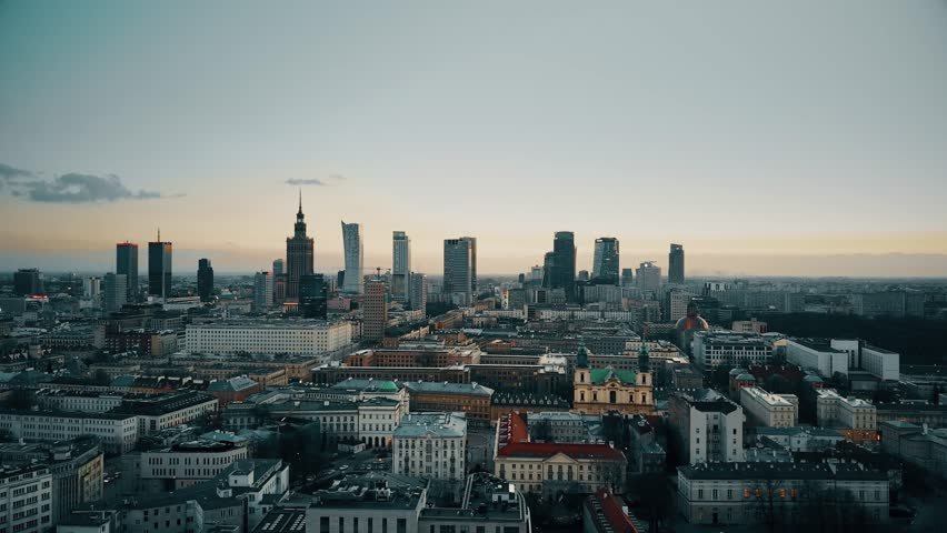 Establishing aerial shot of Warsaw downtown in the evening, Poland. 4K video | Shutterstock HD Video #25181264